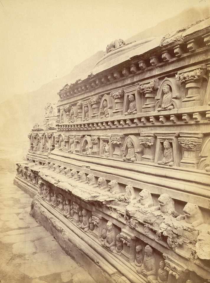 Close view of façade of Stupa No.5, with Buddha statues in niches, Ali Masjid. 1003966